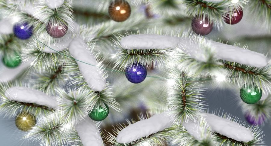 Christmas Tree (snow frost) royalty-free 3d model - Preview no. 4