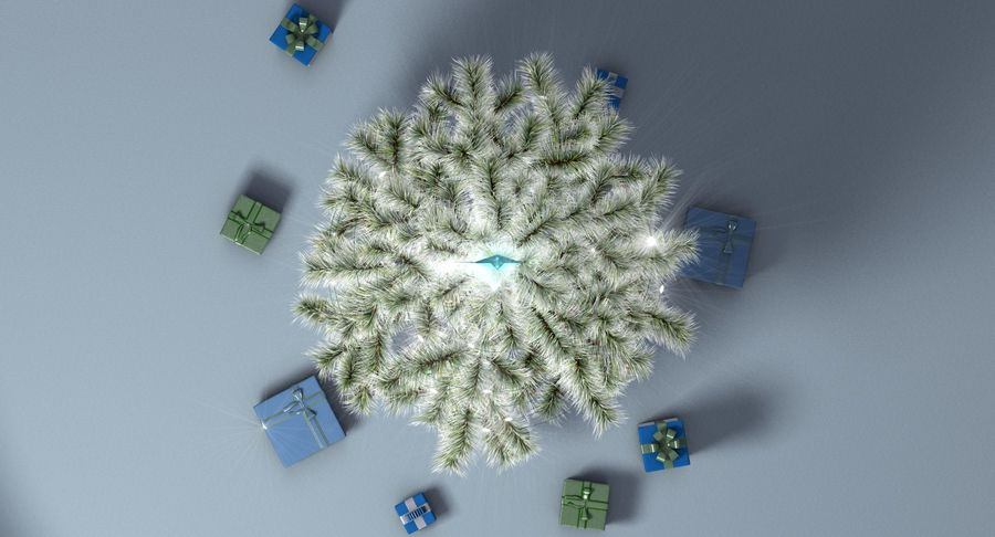Christmas Tree (snow frost) royalty-free 3d model - Preview no. 12
