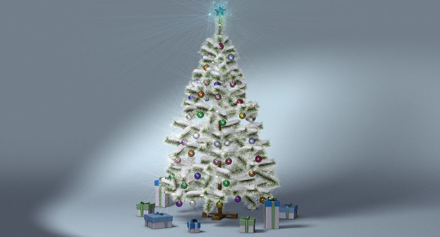 Christmas Tree (snow frost) royalty-free 3d model - Preview no. 3