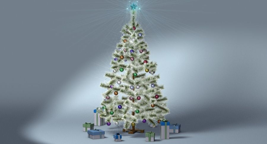 Christmas Tree (snow frost) royalty-free 3d model - Preview no. 13