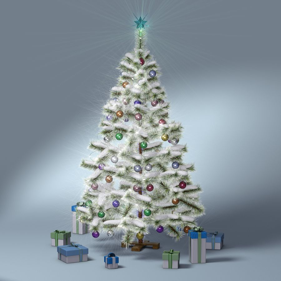 Christmas Tree (snow frost) royalty-free 3d model - Preview no. 10