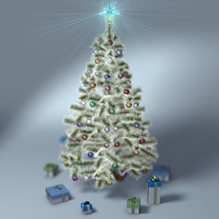 Christmas Tree (snow frost) royalty-free 3d model - Preview no. 9