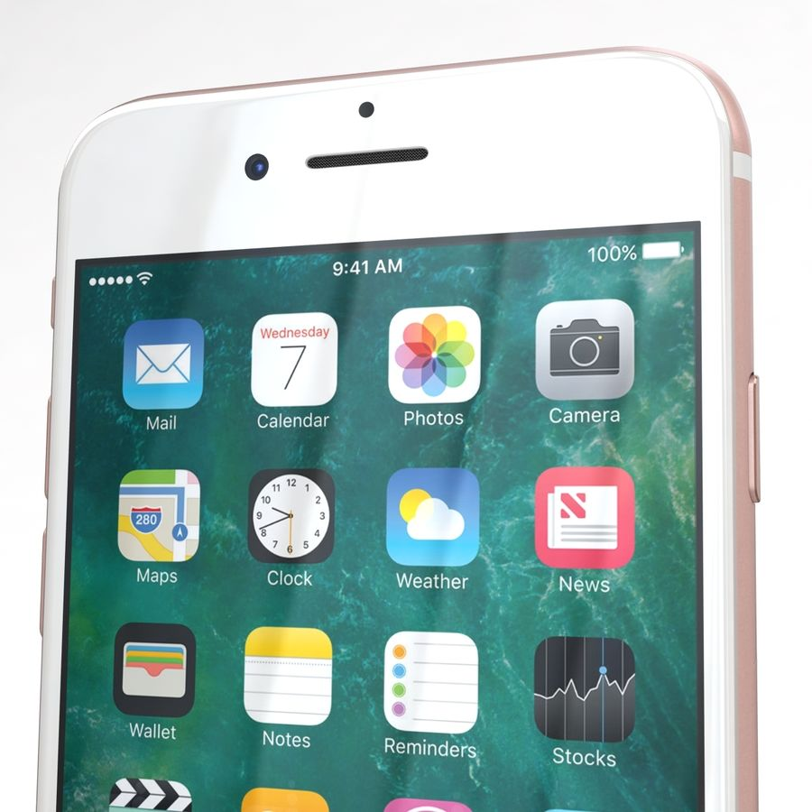 Apple iPhone 7 Gül Altın royalty-free 3d model - Preview no. 25