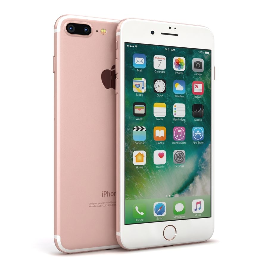 Apple iPhone 7 Artı Gül Altın royalty-free 3d model - Preview no. 2