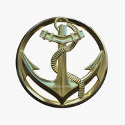 French Marine Troop Military Badge 3d model