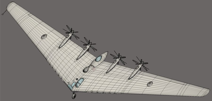 XB35 Flying Wing royalty-free 3d model - Preview no. 24