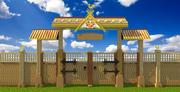 Dekoracyjne drewniane bramy (rosyjski styl ludowy) 3d model