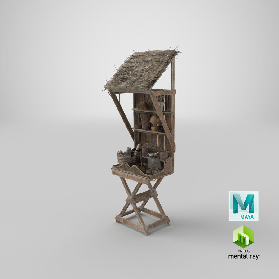 Market Stall 01 royalty-free 3d model - Preview no. 30
