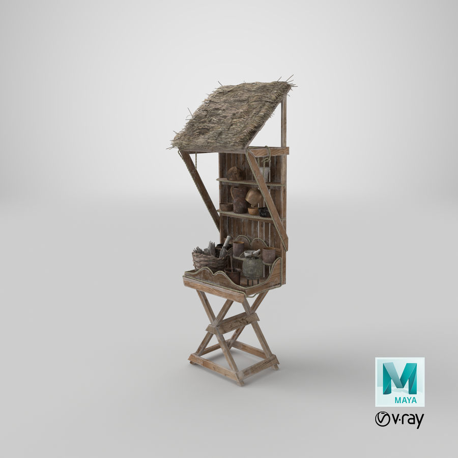 Market Stall 01 royalty-free 3d model - Preview no. 29