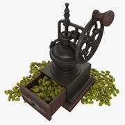 Moulin à café avec haricots (vert) 3d model