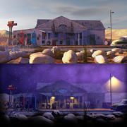 Old Gas Station Day_Night 3d model