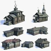 러시아 마을 건물 LOD 세트 3d model