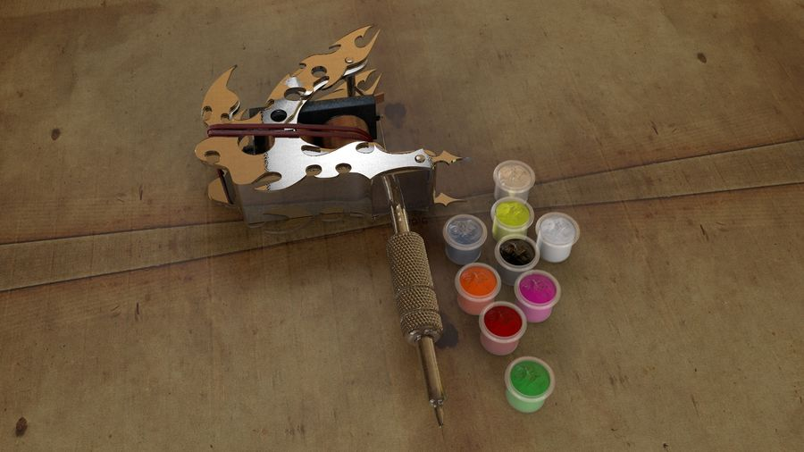 Tattoo Machine royalty-free 3d model - Preview no. 6