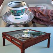 Koffietafel met glas en kop 3d model