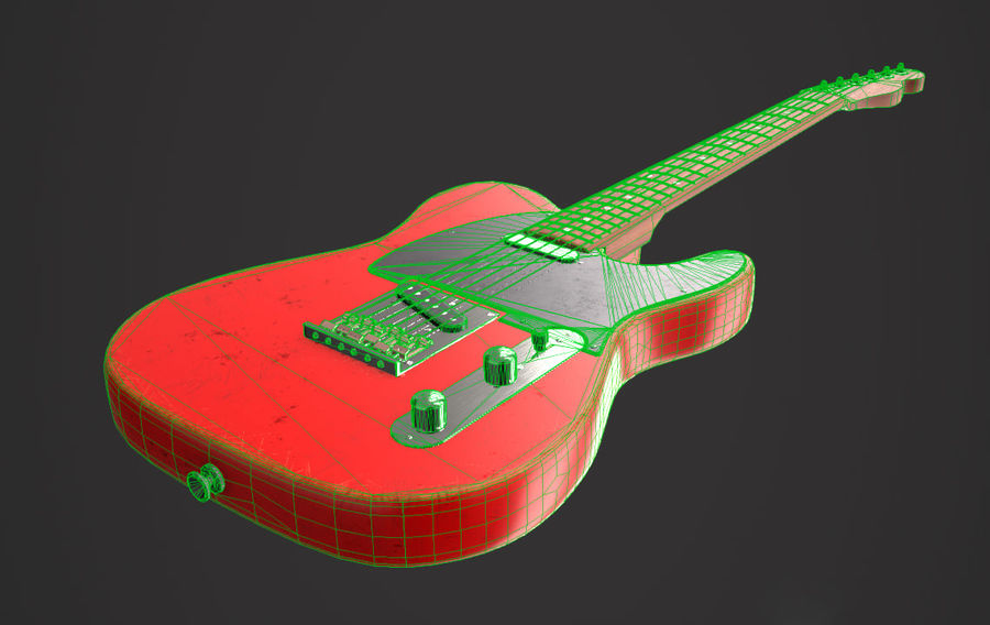 Fender Telecaster VR-Game Ready royalty-free 3d model - Preview no. 6