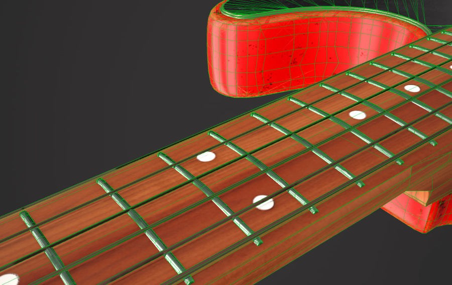 Fender Telecaster VR-Game Ready royalty-free 3d model - Preview no. 8