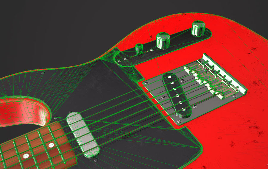 Fender Telecaster VR-Game Ready royalty-free 3d model - Preview no. 7