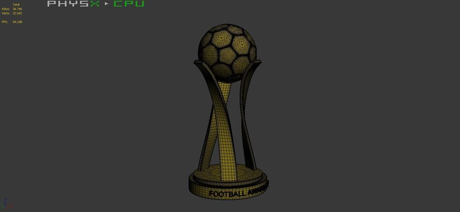 Football Award Cup 01 royalty-free 3d model - Preview no. 11