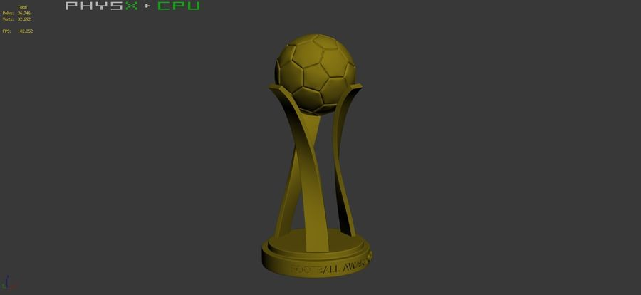 Football Award Cup 01 royalty-free 3d model - Preview no. 10