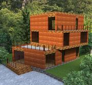 Casa de campo cualitativa de alta tecnología modelo 3d