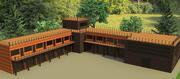 Construcción detallada del edificio complejo de alta tecnología modelo 3d