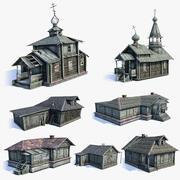 러시아 마을 건물 세트 3d model