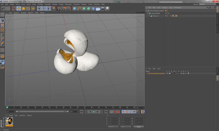 One Popcorn Kernel royalty-free 3d model - Preview no. 13