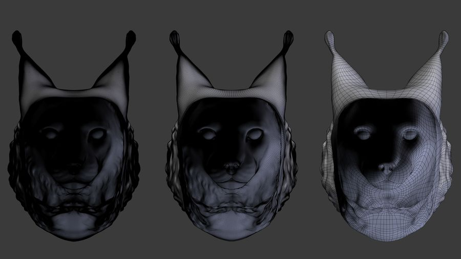 tête de lynx royalty-free 3d model - Preview no. 5