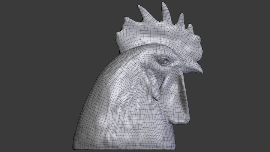 Голова петуха royalty-free 3d model - Preview no. 8