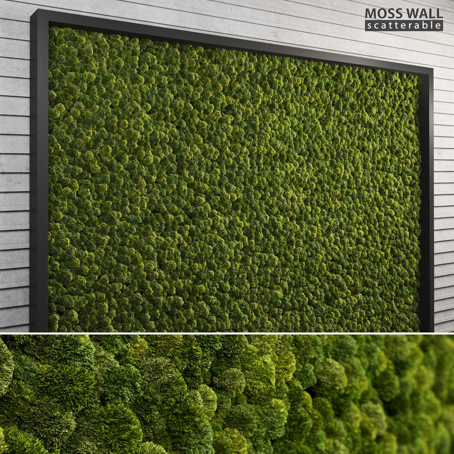Moss Wall (Scatterable) royalty-free 3d model - Preview no. 1
