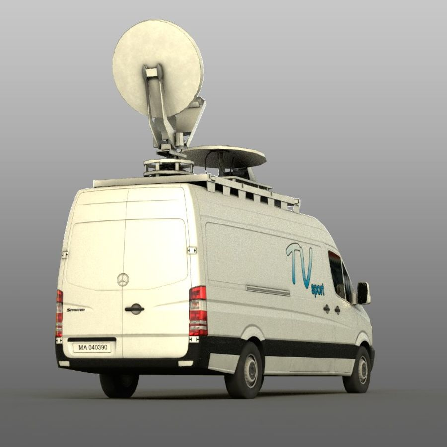 Mersedes Sprinter TV royalty-free 3d model - Preview no. 4
