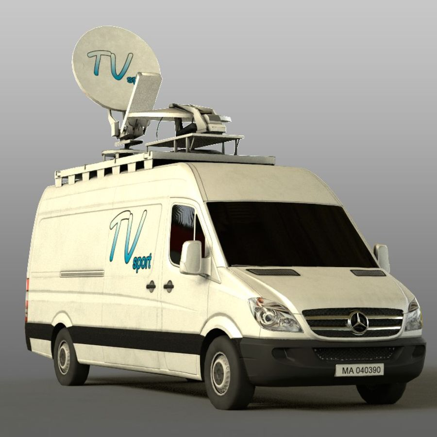Mersedes Sprinter TV royalty-free 3d model - Preview no. 2