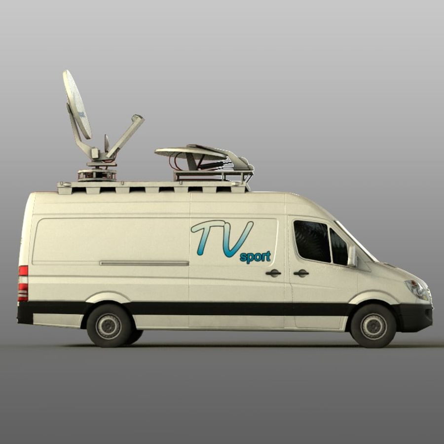 Mersedes Sprinter TV royalty-free 3d model - Preview no. 3