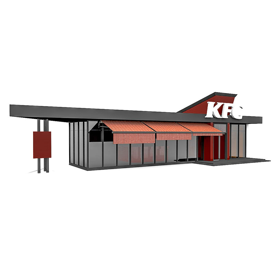 KFC Small City Fast Food Restaurant royalty-free 3d model - Preview no. 1