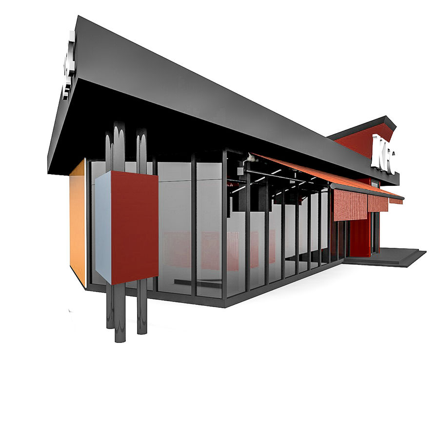 KFC Small City Fast Food Restaurant royalty-free 3d model - Preview no. 2