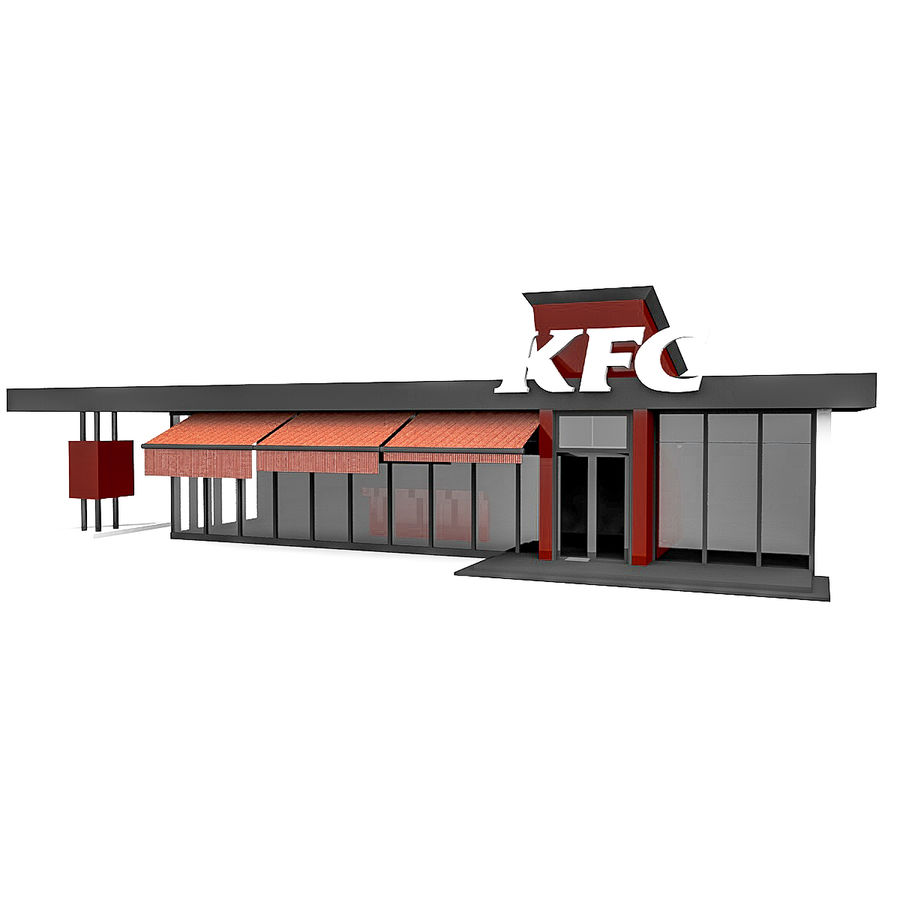 KFC Small City Fast Food Restaurant royalty-free 3d model - Preview no. 4