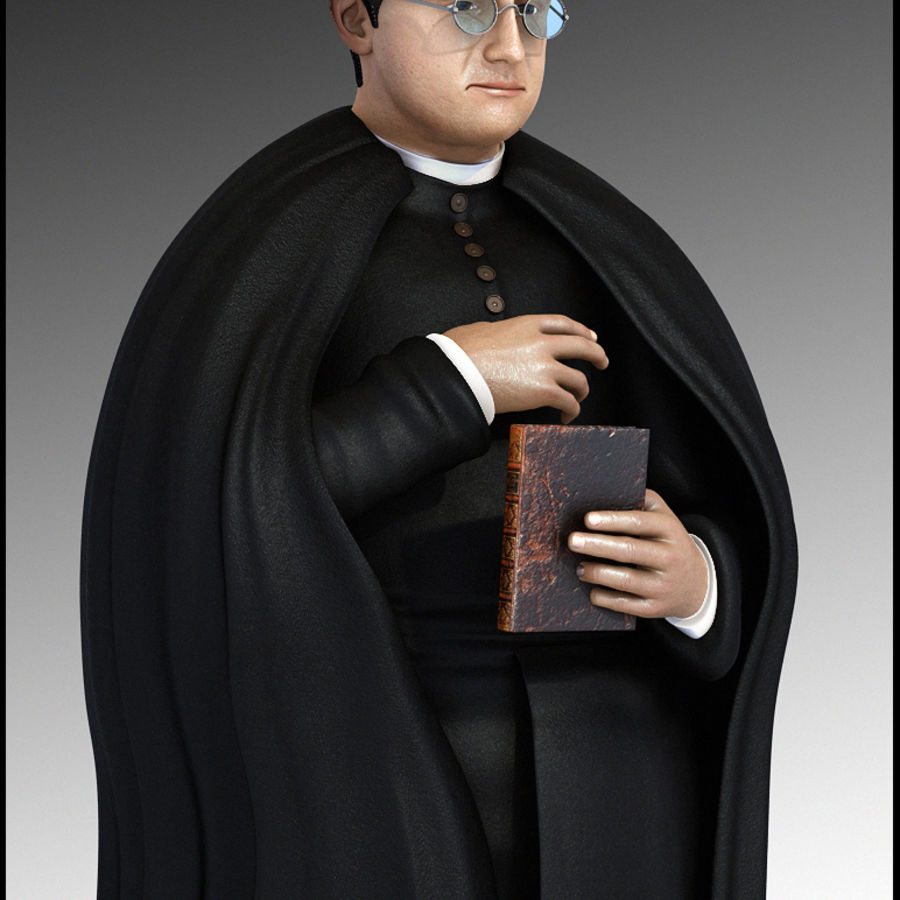 Priest Cartoon royalty-free 3d model - Preview no. 1