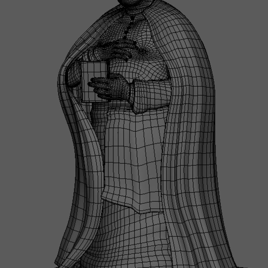 Priest Cartoon royalty-free 3d model - Preview no. 8