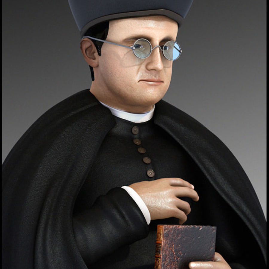 Priest Cartoon royalty-free 3d model - Preview no. 5