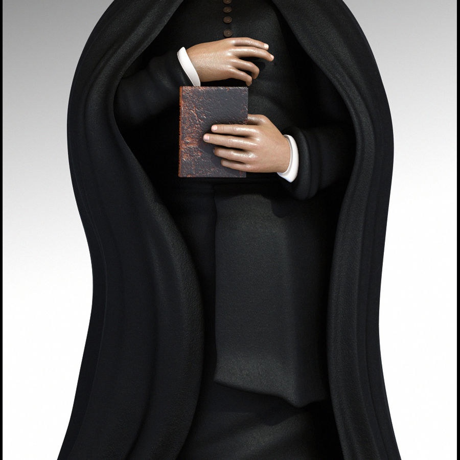Priest Cartoon royalty-free 3d model - Preview no. 3