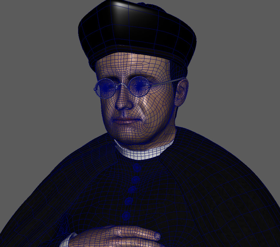 Priest Cartoon royalty-free 3d model - Preview no. 7
