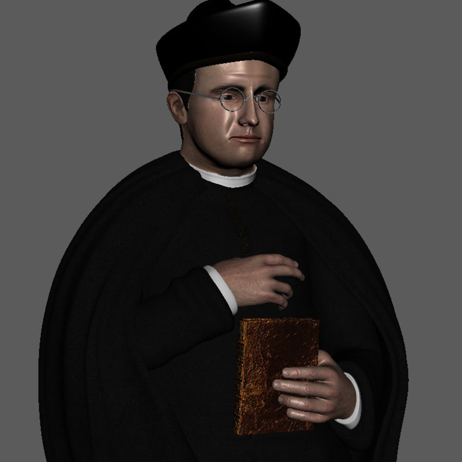 Priest Cartoon royalty-free 3d model - Preview no. 6