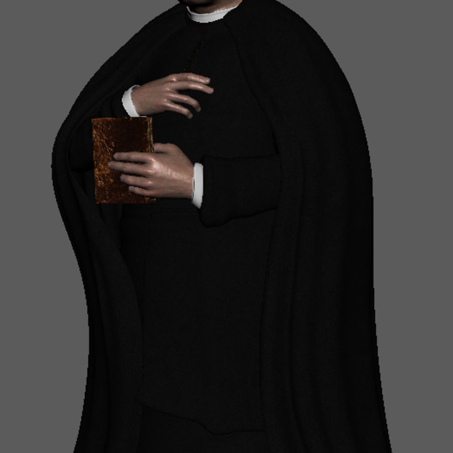 Priest Cartoon royalty-free 3d model - Preview no. 11