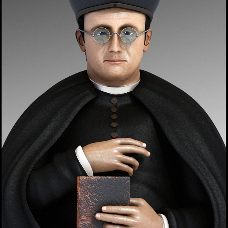 Priest Cartoon royalty-free 3d model - Preview no. 4