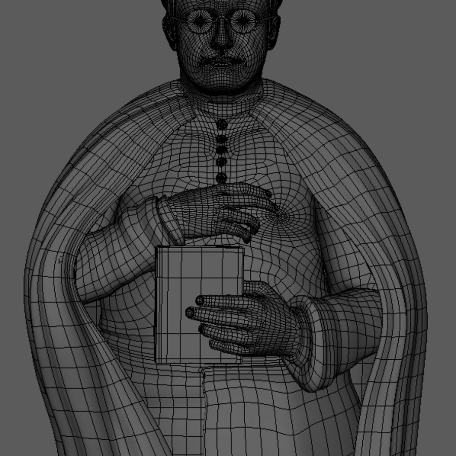 Priest Cartoon royalty-free 3d model - Preview no. 9