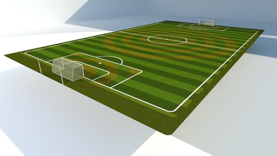 Soccer Stadium Field And Goals royalty-free 3d model - Preview no. 3