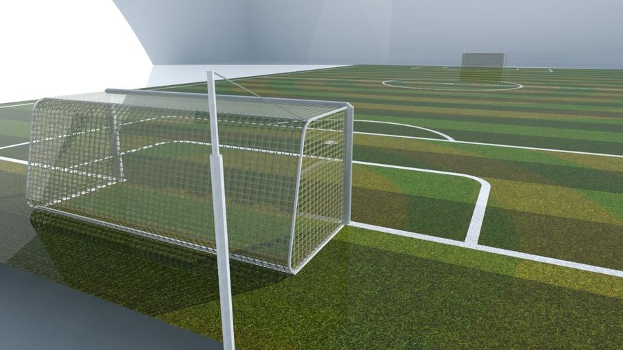 Soccer Stadium Field And Goals royalty-free 3d model - Preview no. 2