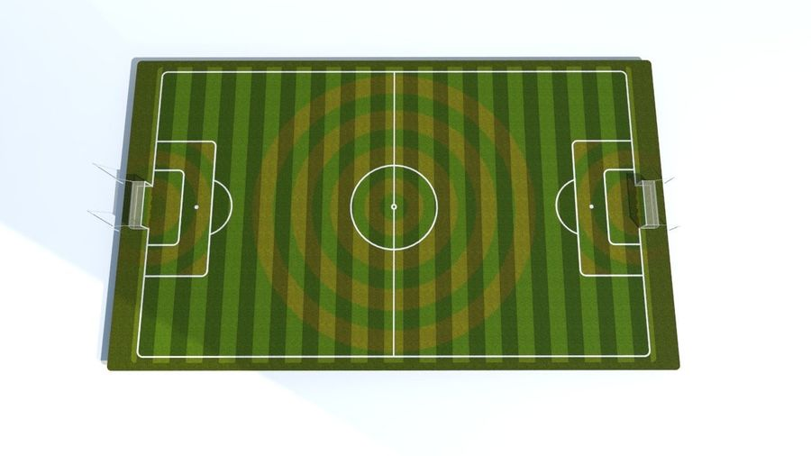 Soccer Stadium Field And Goals royalty-free 3d model - Preview no. 5