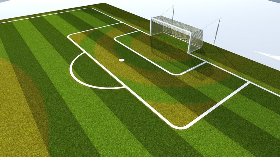 Soccer Stadium Field And Goals royalty-free 3d model - Preview no. 4