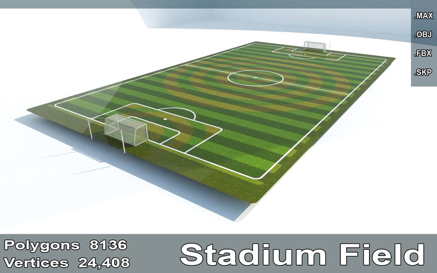 Soccer Stadium Field And Goals royalty-free 3d model - Preview no. 1